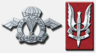 Regimental Insignia of the Parachute Regiment (left). Insignia of the Para Commandos is at right. Image ?? Counter Terror & Hostage Rescue